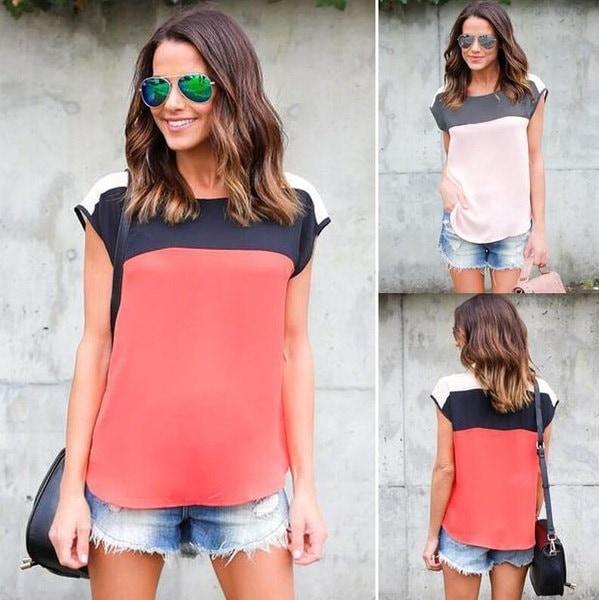 女性のヒットカラーシフォントップスブラウスカジュアルレディースシャツ