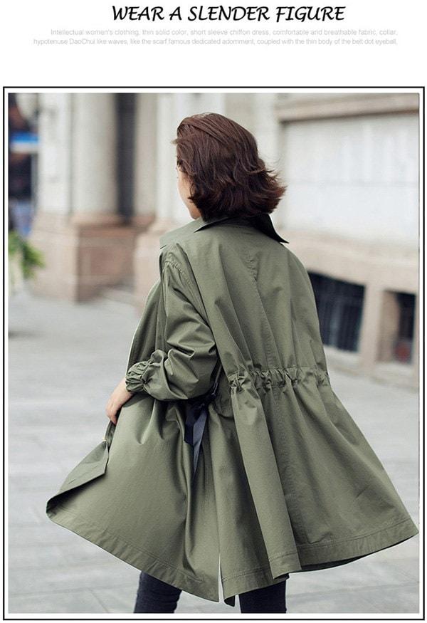 トレンチコート スプリングコート  リボン付き  アウター  ジャケット 美スタイル   レディース トレンドコート
