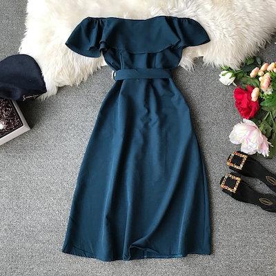 【送料無料】ドレス オフショルダー 膝丈 リボン 前ボタン フリル 結婚式 お呼ばれ 二次会 パーティ シンプル 可愛い 上品 大人 大きいサイズ ドレス 5l BTBA1539
