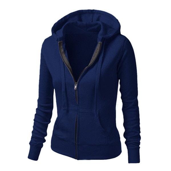 女性の秋の冬のパーカースウェットジッパーのデザインロングスリーブパーカーコート女性の因果関係Hoody W