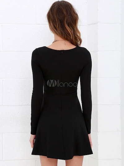Long Sleeve Flared Dress