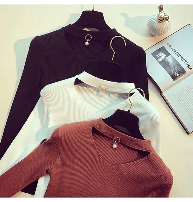 レディースファッション 女性 トップス プルオーバー ニット素材 セーター Vネック インナー カットソー ブラウン ブラック ホワイト タイト お洒落 シンプル 上品 セレブ セクシー 韓国風