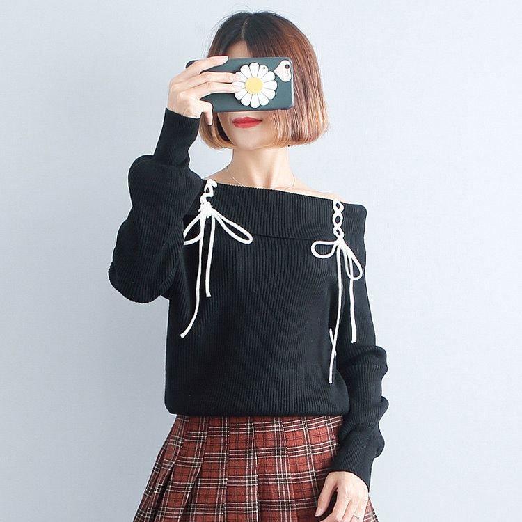 【たっぷり袖がかわいい❤】一言襟 韓国ファッション セーター 秋冬