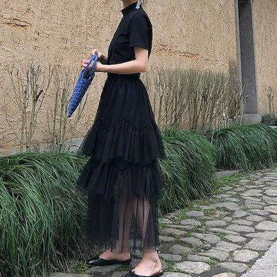 スカート レディース シフォン かわいい ロング丈 おしゃれ チュールスカート シンプル 2色展開 ブルー ブラック