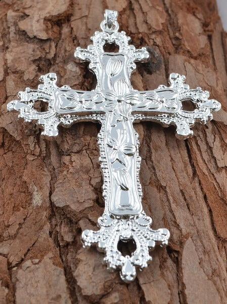 925スターリングシルバーフラワー宗教的なクロスペンダント/チャーム