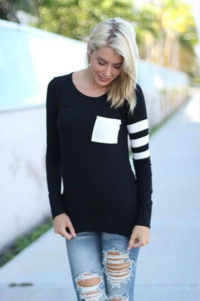 ファッションスプリットジョイントデザインレディースTシャツ