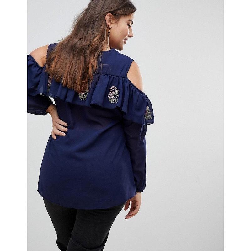 ココ レディース トップス【Koko Cold Shoulder Ruffle Top With Embroidery】Navy