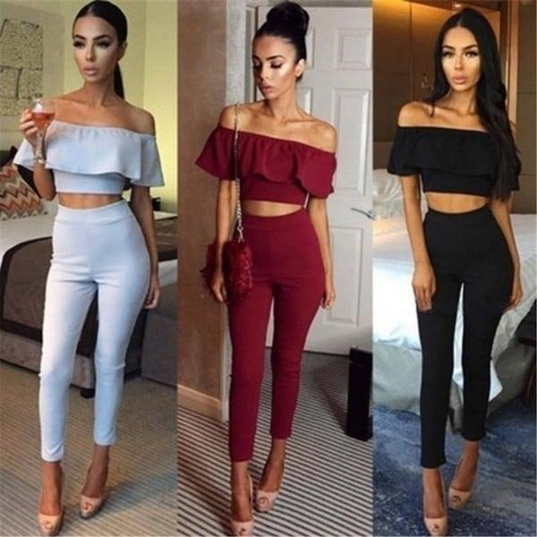 2017 New Women Fashion Sexy Strapless Jumpsuit Solid Color Two Piece Suit Bodysuit Long Pants