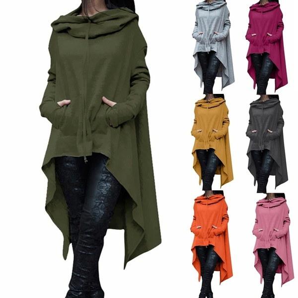 女性のファッションソリッドカラードローコードコートロングスリーブルーズカジュアルポンチョコートフード付きプルオーバーロング
