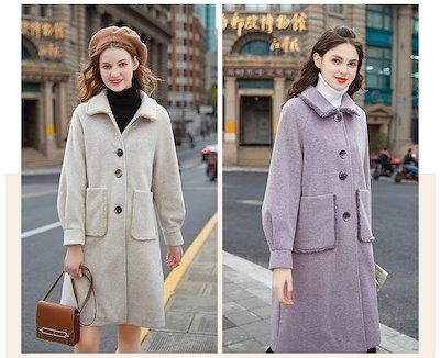 2018秋冬新作!トレンドのレトロ☆大きめボタンとポケットがレトロな印象を与える、暖かなウールコート♪XS〜XLまで☆ C30783