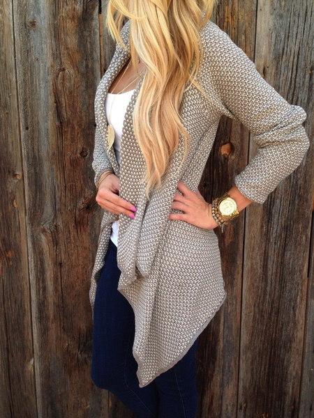 新しい女性の長袖ニットカーディガンルーズセーターアウトジャケットコートセーター