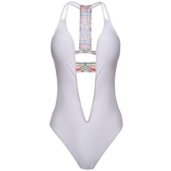 Women Sexy V Neck Backless Padded Pathcwork Beach Wear Swimsuit Monokini