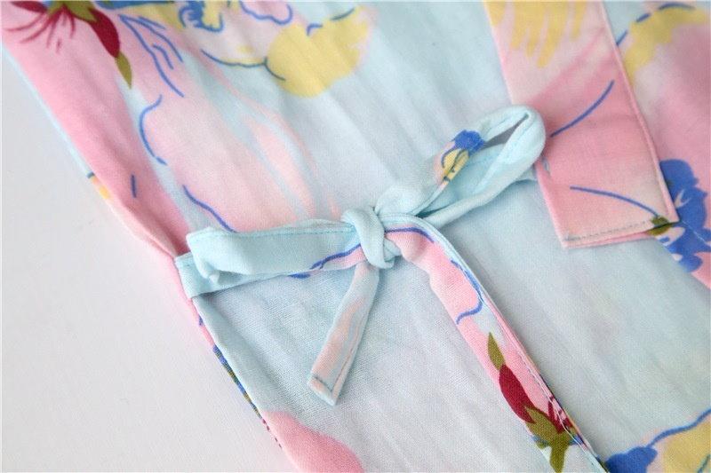 女性の着物着物パジャマコットンバスローブレースアップパジャマサマーナイトガウン