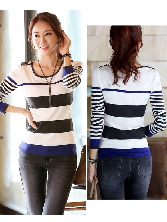 Womens Autumn Winter Casual Long Sleeve Striped Thin Bottoming Sweater Pullover Shirt Blouse Tops Jumpers Knitwear