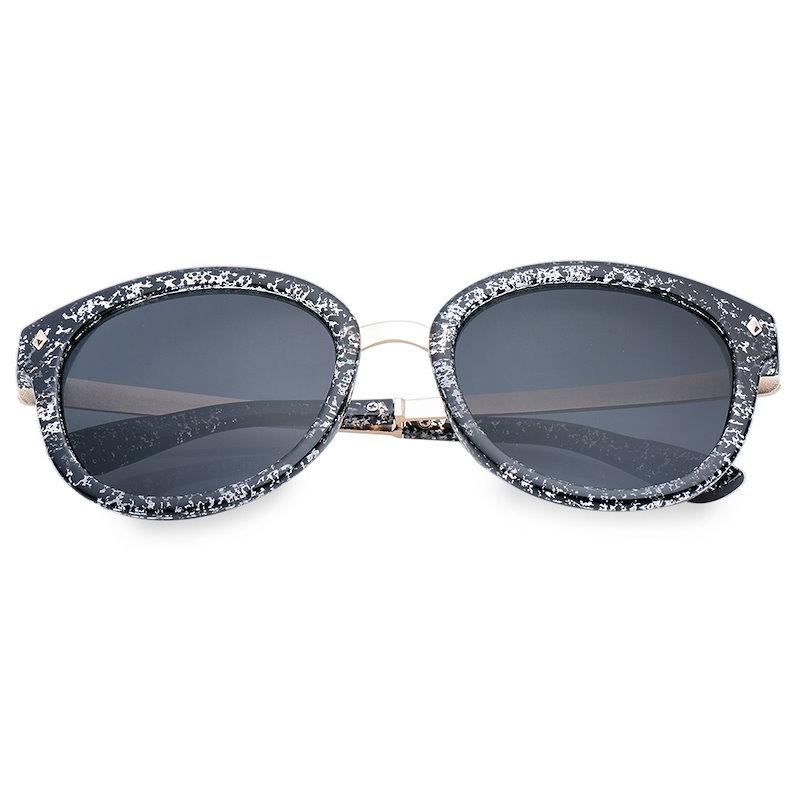 シックなリベットと合金の継ぎ目は、女性のためのフルフレームサングラスを装飾