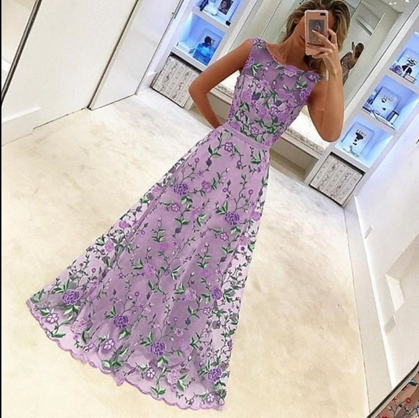 Floral Embroidery Printed Long Prom Dress Evening Dress Sleeveless Sexy Elegant Chiffon Prom Maxi Dr