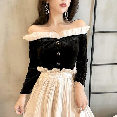 韓国ファッション 韓国 ブラウス オフショルダー ガーリー ベロア風 シフォン ボタン ブラック ロリータ フレア 襟 (9B080501)