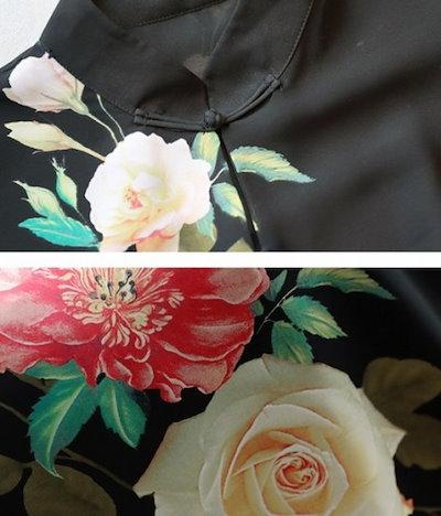 ロングドレス チャイナ 花柄 黒 ブラック ワンピース 2018年7月新商品 夏物 秋物 最新 レディース ファッション 2018 人気 可愛い 大人 20代 30代 40代 新作