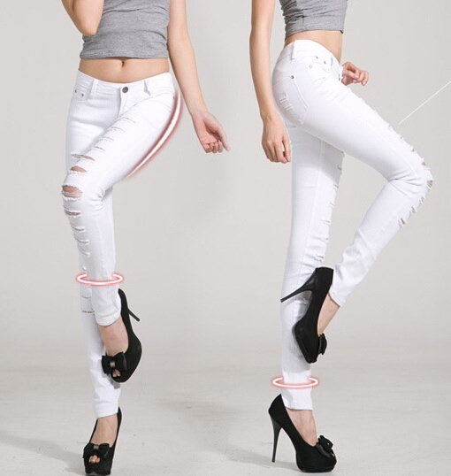 Women Jeans Pants Hot Sale Pencil Full Length Denim Ripped Punk Cut-out Plus Size Sexy Skinny Jean C