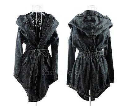 Women s Hot Denim Trench Coat Hoodie Outerwear Hooded Jeans Coat Jacket New FT