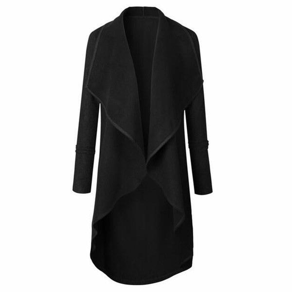 2017新しい冬の女性の女性の長袖カジュアルルースラペルカーディガンコート不規則裾ロングダストCo