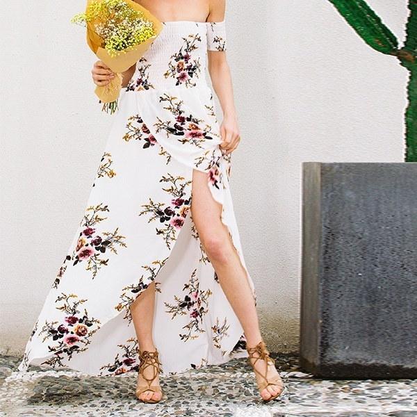 新着ファッションエレガンスレディースパーティーラップチェストオフショルダールーズビーチプリントドレススリムセックス