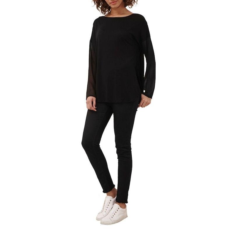 グレート プレインス レディース トップス【Remix Jersey Sheer Sleeved Top】black