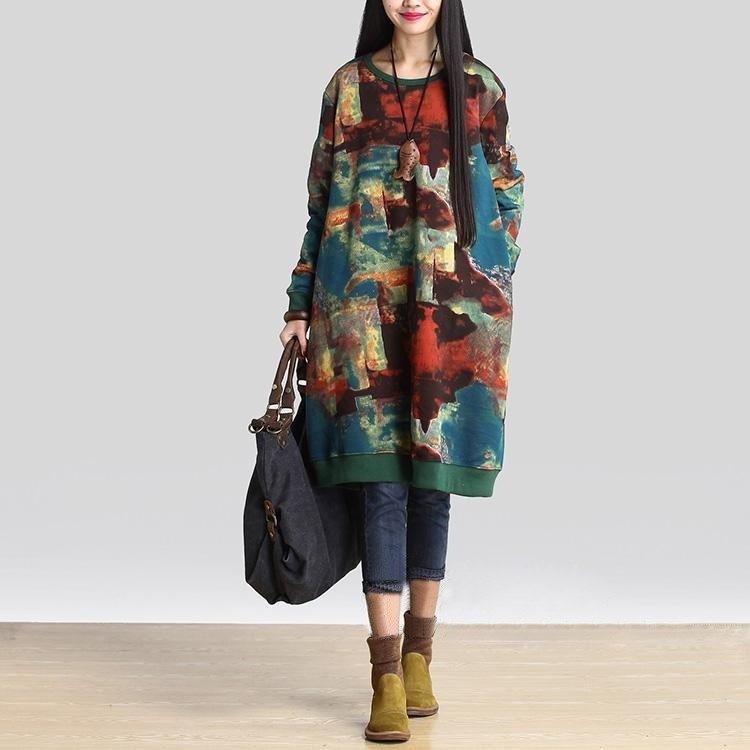 女性のファッションプラスサイズのカウルネックラインチュニックセータードレスソリッドブラウストップZH5744