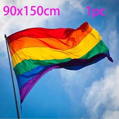 90x150cm / 14x21cmレインボーフラッグ3x5 FTポリエステルレズビアンゲイプライドNEW