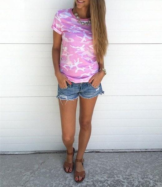 女性ファッションカモフラージュOネック半袖TシャツカジュアルブラウスプラスサイズS-3XL