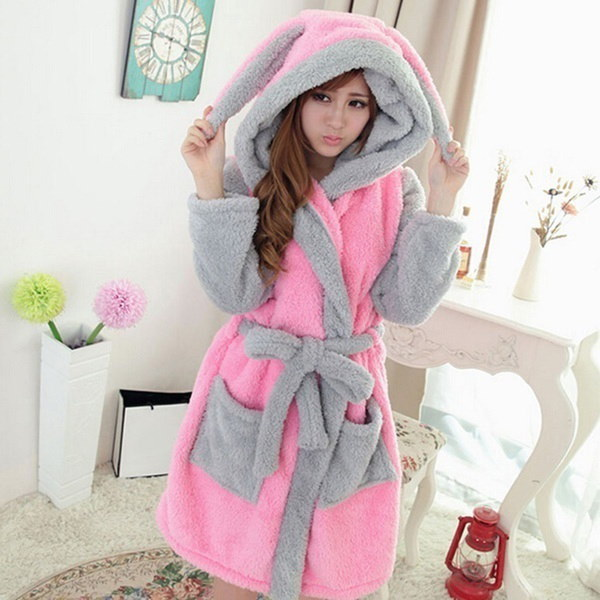 New Woman Cute Cartoon Animal Bathrobe Pajamas Winter Nightgown Coral Sleepwear