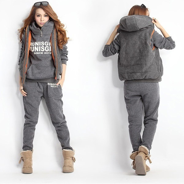 Fashion Korean Style Autumn Winter Three-pieces Sports Suit Women Cotton Casual Hoodie Sweatshirt  R