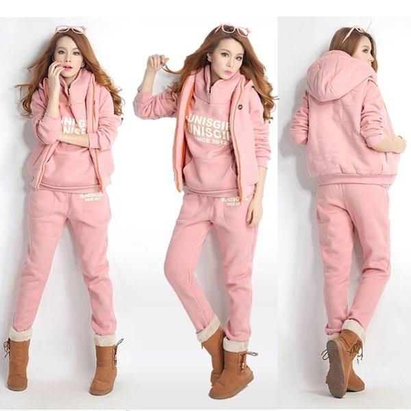 Fashion Korean Style Autumn Winter Three-pieces Sports Suit Women Cotton Casual Hoodie Sweatshirt  R