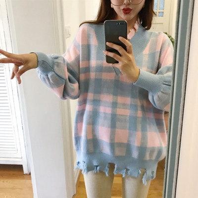 [55555SHOP]韓国風/風/襟/ヒットカラー/グリッド/ファッション/手厚い/セーター/暖かい/着やせ/ルース/ヘッジ/長袖/トップス/女