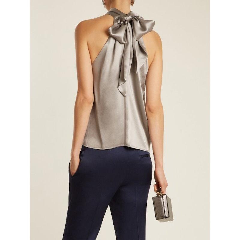 ガルバン レディース トップス【Tie-neck silk-satin top】Silver