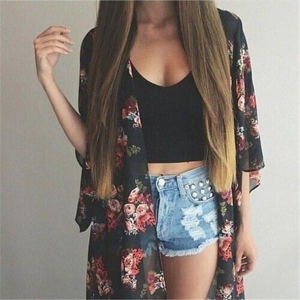 夏ファッションフラワープリントカーディガンセクシーカジュアル着物女性シフォンスモック