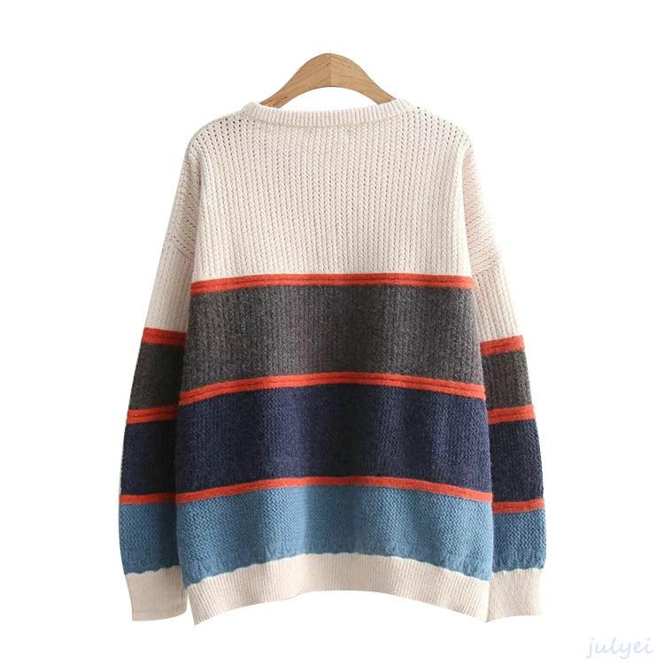 秋新品配色ニットセーター/ゆったり長袖/レディース トップス/ゆるニットルーズニット 着やせ 体型カバー