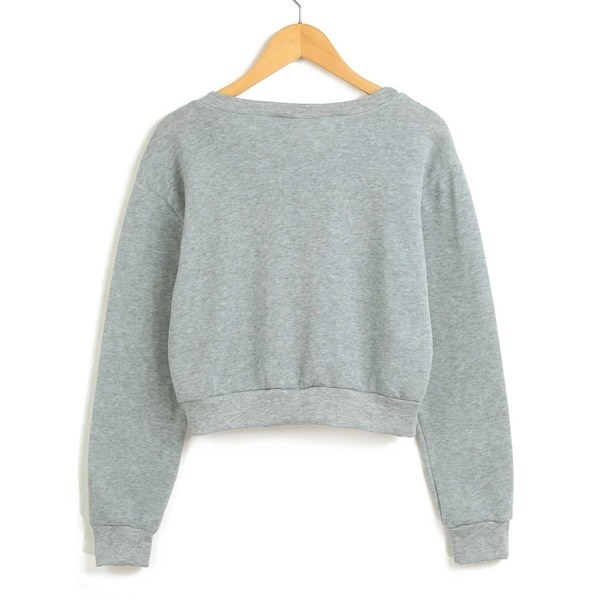 Women Cropped Hoodie Sweatershirt Pullover Floral Embroidered Applique Long Sleeves Crop Tops Outwea