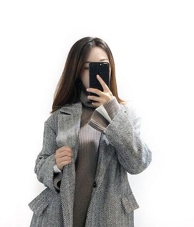 2018秋 オススメ コート ウールコート ヘリンボーン 女性 スーツカラー ダーツ 長袖 ロング