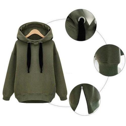 新しいファッション女性オーバーサイズパーカーロングスウェットサイドジップコートトッププラスサイズカジュアルスウェット
