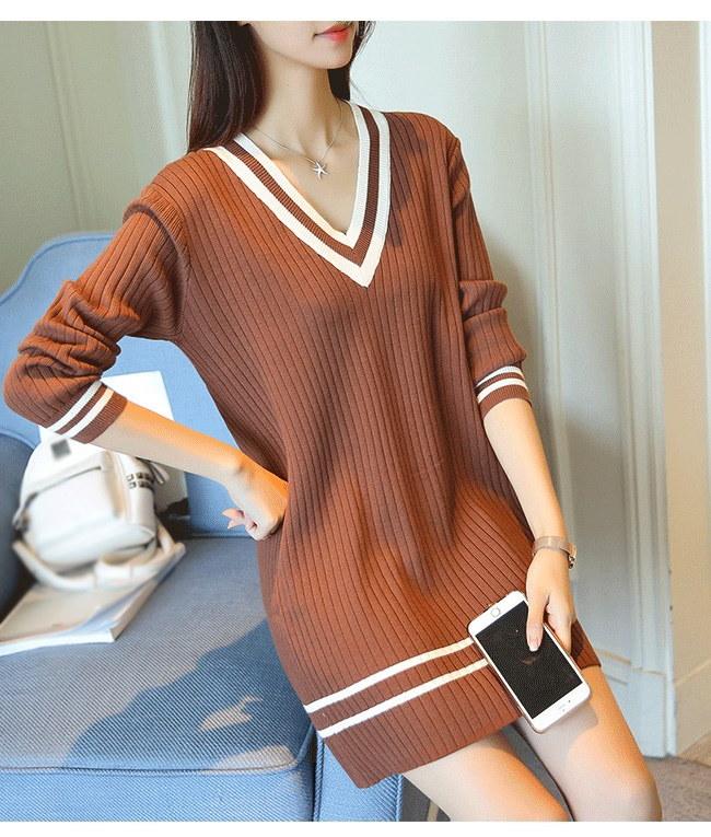 レディースファッション 女性 トップス プルオーバー ニット素材 セーター Vネック インナー カットソー ロング丈 スクール風 シンプル ワンピース 大きいサイズ ホワイト ブラック ブラウン