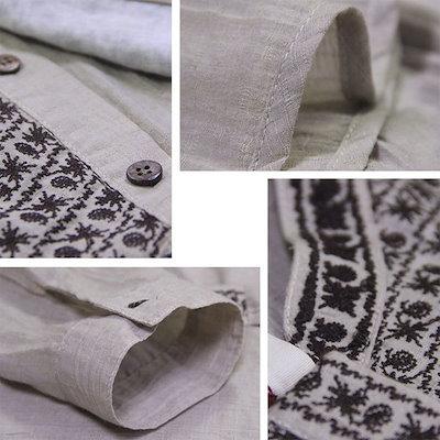 レディース オリジナルデザイン エスニック系 トップス ブラウス 長袖 綿麻素材 フェミニン 刺繍 襟付き ミディアム丈 民族風  2サイズ M L gf143