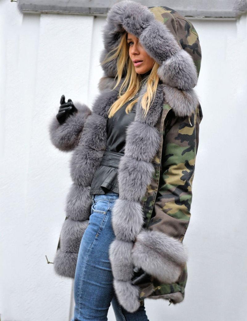 ファッション女性フード付きカジュアルロングスリーブフロントボタンパーカーフェイクファーカモフラージュコートジャケットアウトウエア