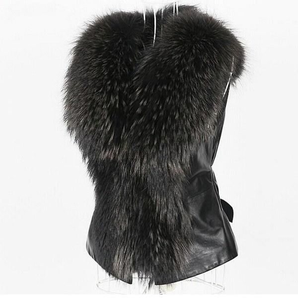 新しい到着冬暖かいファッションスリムレディースレザージャケットハイグレードフェイクファーベストコートラクーンファー