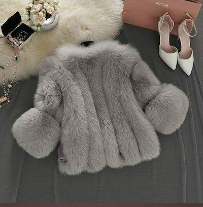 ホットセールエレガントな女性のファッションコートソリッドカラー3/4スリーブフェイクファーミンクファーパーティーショールズ