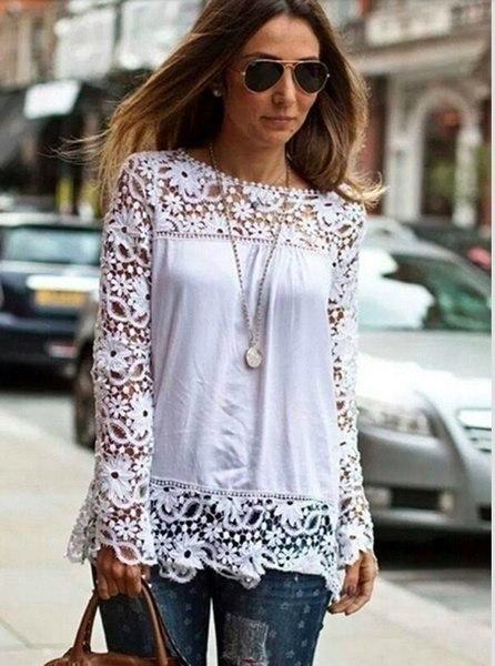 女性のシアースリーブ刺繍レースのかぎ針編みのシフォンシャツ