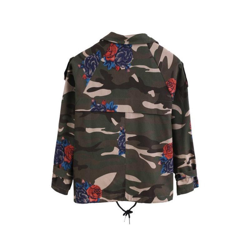 バットスリーブヴィンテージアーミーグリーンカモデニムジャケットコートは迷彩女性のジーンズコートFs0027を印刷ローズ