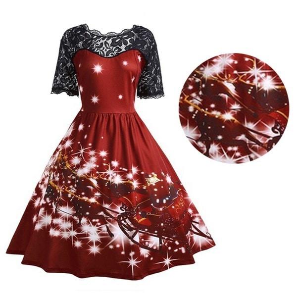 ホットセールレディースクリスマスプリントレースピンアップスイングレースパーティーパネルドレス