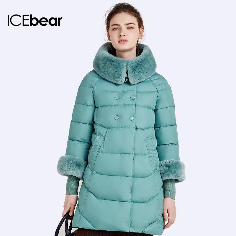 Icebear 2016ウサギの毛皮の襟取り外し可能なナチュラルカラーの冬の長いジャケットニートライン設計の女性のコートとパーカー16g639