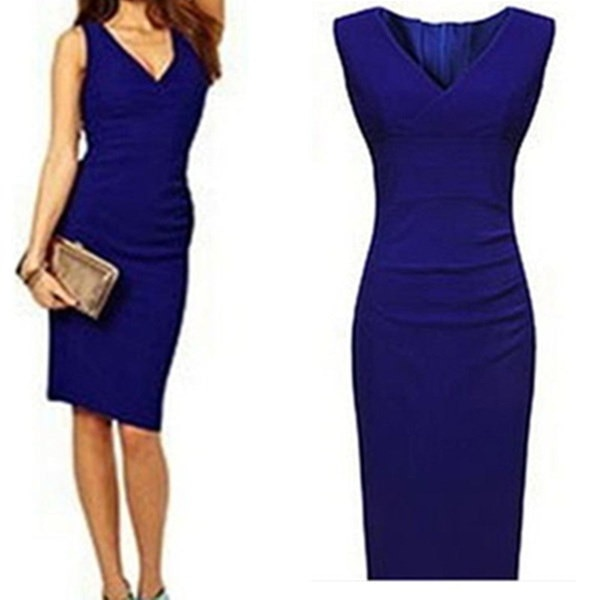 ファッション女性セクシードレス深いVネック包帯ボディコンエレガントな着用のオフィスドレス